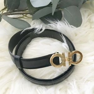 Ferragamo Black Belt With Gold Buckle